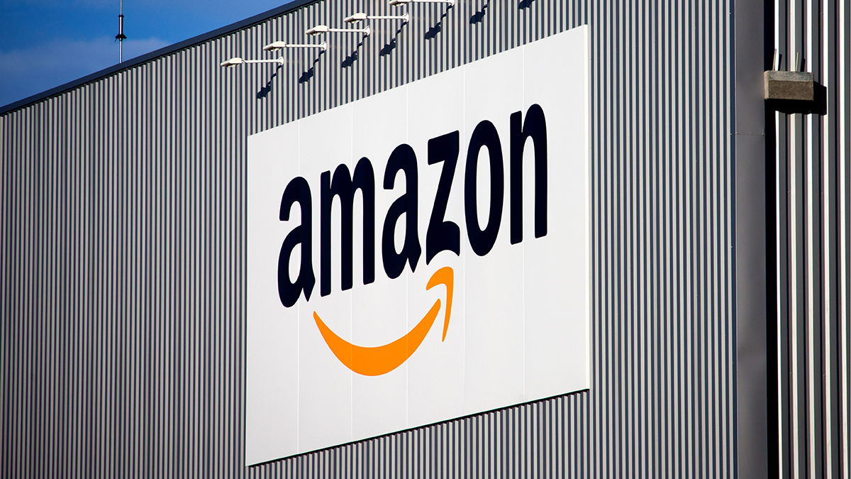 The Amazon logo is seen on the logistics center of online merchant Amazon in Lauwin-Planque, northern France, in this file photo.