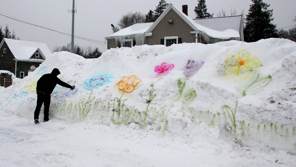 William Green, 25, spray paints flowers onto a snow bank in the parking lot of Genrich's Garden Center where he works in Irondequoit, New York.