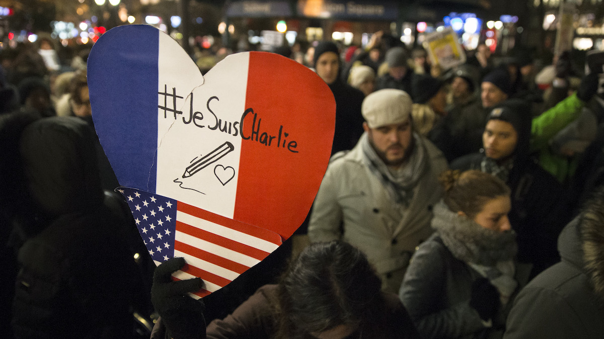 In New York City, mourners rallied at Union Square Park on Wednesday, Jan. 7, 2015, in support of Charlie Hebdo.