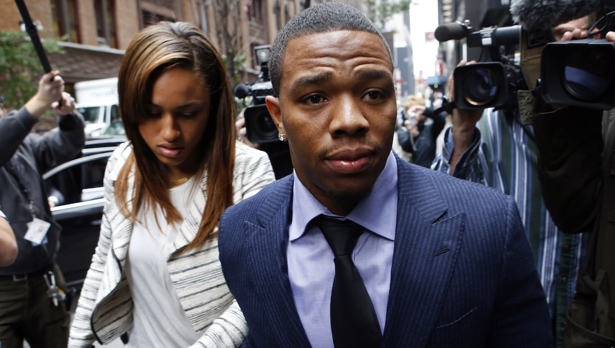 Ray Rice arrives with his wife Janay Palmer for an appeal hearing of his indefinite suspension from the NFL in New York Nov. 5, 2014.