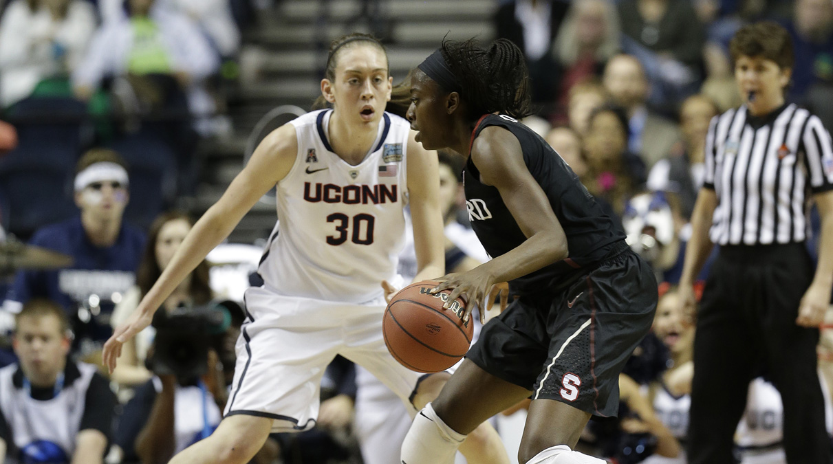 Connecticut forward Breanna Stewart (30) works against Stanford during the first half of the semifinal  game in the Final Four of the NCAA women's college basketball tournament, Sunday, April 6, 2014, in Nashville, Tenn. (AP Photo/Mark Humphrey)