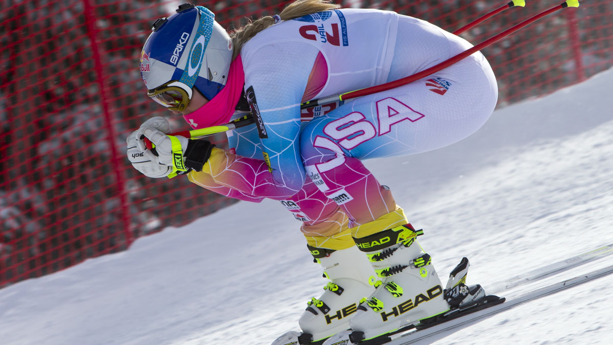 In this Nov. 6, 2013 file photo, Lindsey Vonn speeds down the training course at the U.S. Ski Team training center at Copper Mountain, Colo. Vonn said on NBC's