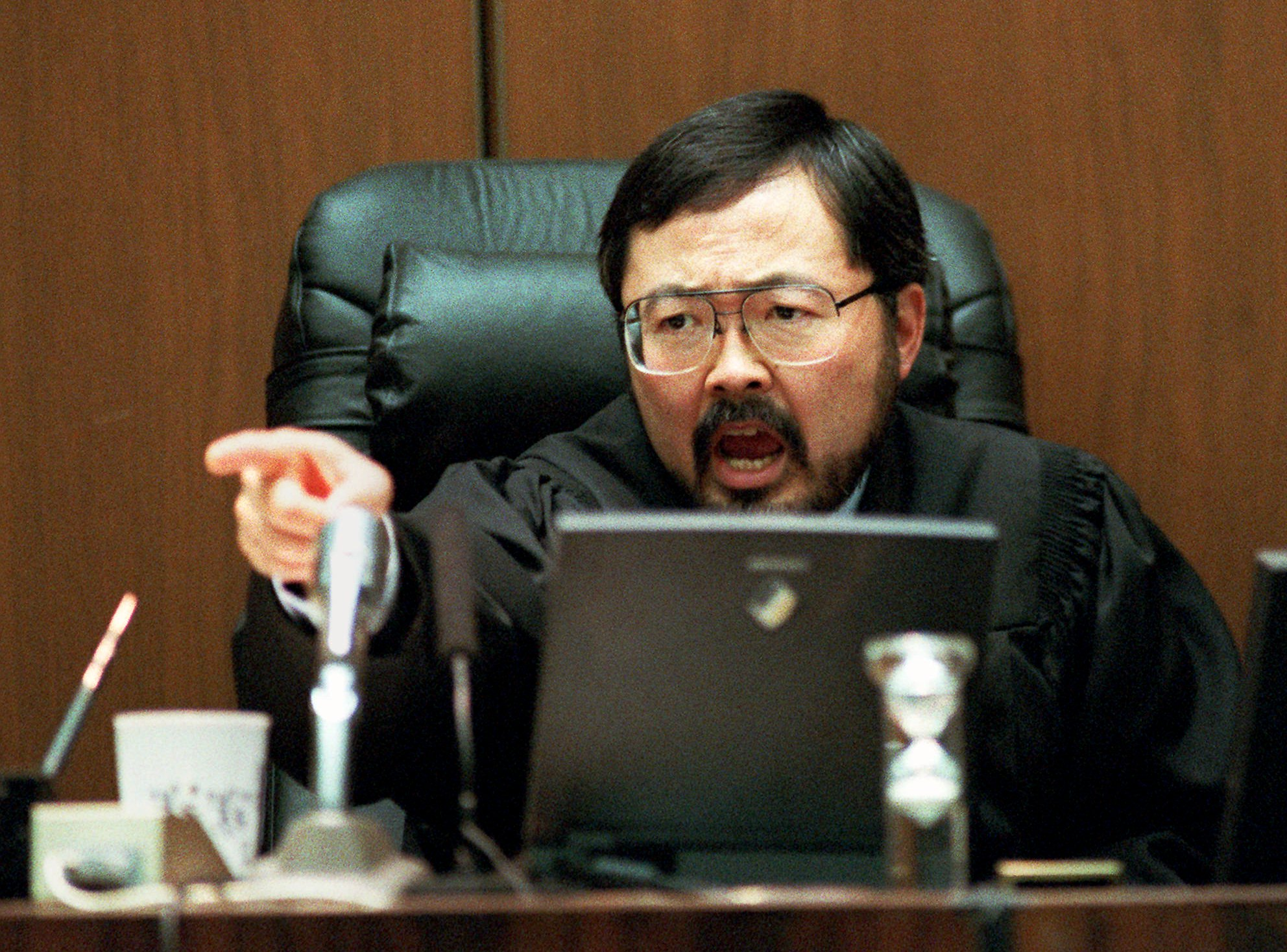 Los Angeles Superior Court Judge Lance Ito yells in court during the O.J. Simpson double-murder trial in Los Angeles Friday, Sept. 29, 1995. (AP Photo/Eric Draper, Pool)