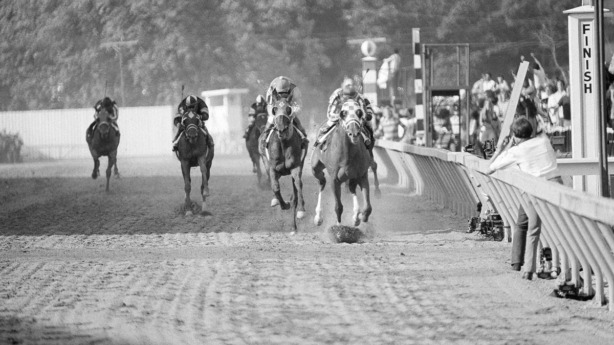 Secretariat on the rail, with Ron Turcotte up, wins the 98th running of the Preakness Stakes by 2 1/2 lengths over Sham, left, May 21, 1973, in Baltimore. Secretariat was shipped to New York for the Belmont Stakes, the last jewel in racing's triple crown, where he won in a record-breaking 2:24.00.