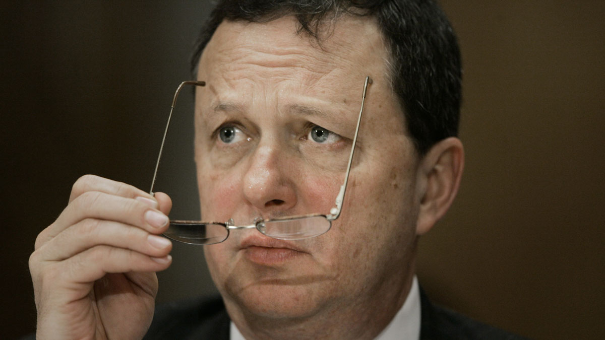 Former FEMA Director Michael Brown testifies before the Senate Homeland Security and Governmental Affairs Committee about the failures of the government response to Hurricane Katrina, on Capitol Hill in Washington, Friday, Feb. 10, 2006.