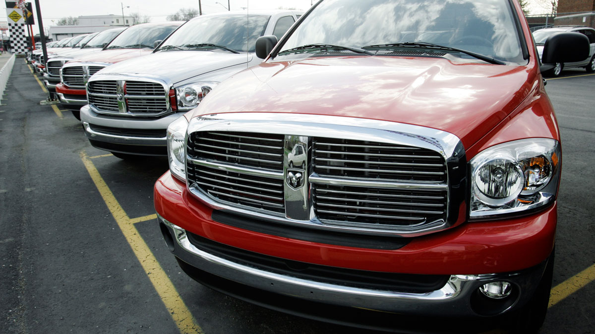 Dodge Ram 1500 pickup trucks are shown on a dealership new vehicle lot in Detroit.