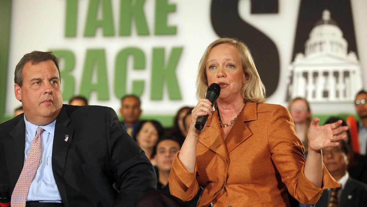 In this file photo, Meg Whitman, Republican nominee for Governor, right, holds a campaign event with New Jersey Governor Chris Christie on Wednesday, Sept. 22, 2010, in Los Angeles. (AP Photo/Damian Dovarganes)