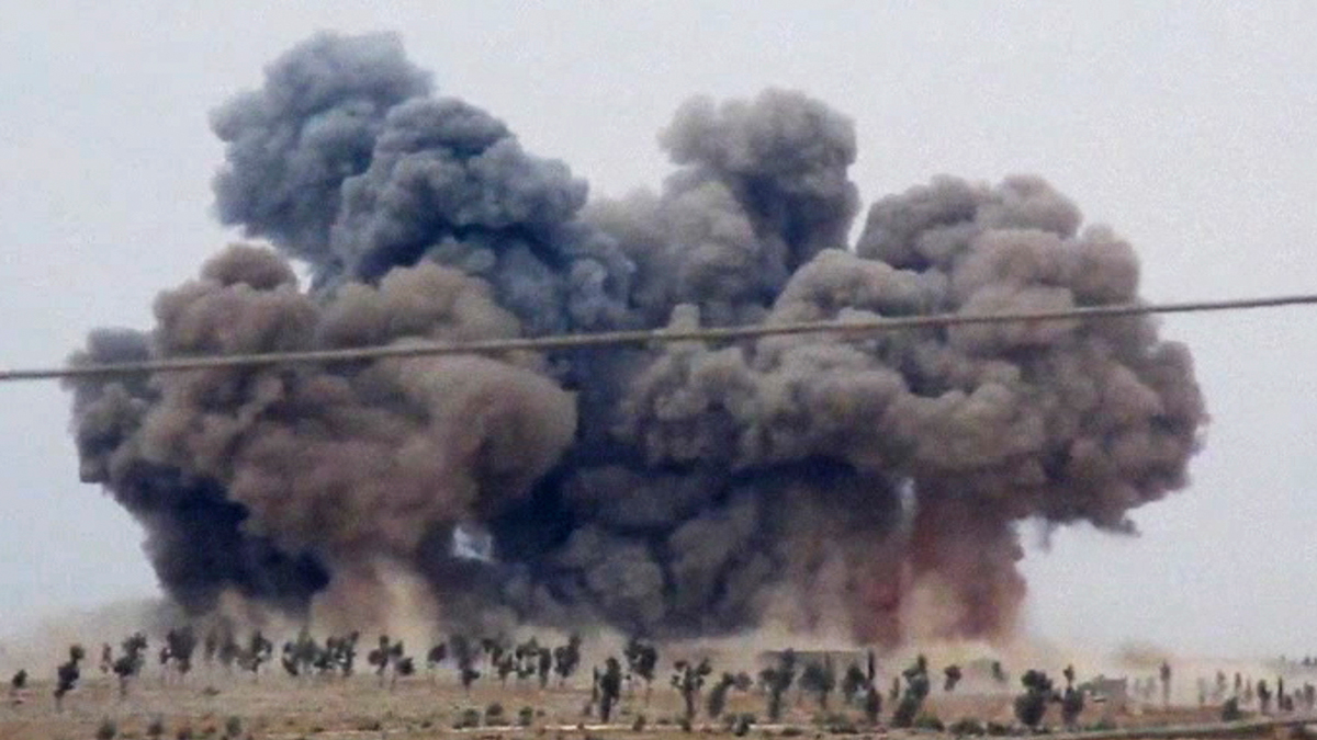 In this image made from video provided by Hadi Al-Abdallah, smoke rises after airstrikes in Kafr Nabel of the Idlib province, western Syria, Oct. 1, 2015.