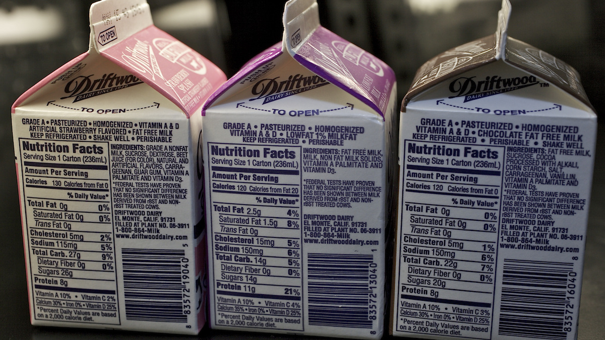 In this file photo taken Tuesday, May 3, 2011, milk cartons are displayed.