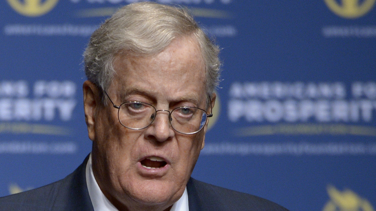 In this Aug. 30, 2013, file photo, Americans for Prosperity Foundation Chairman David Koch speaks in Orlando, Florida.