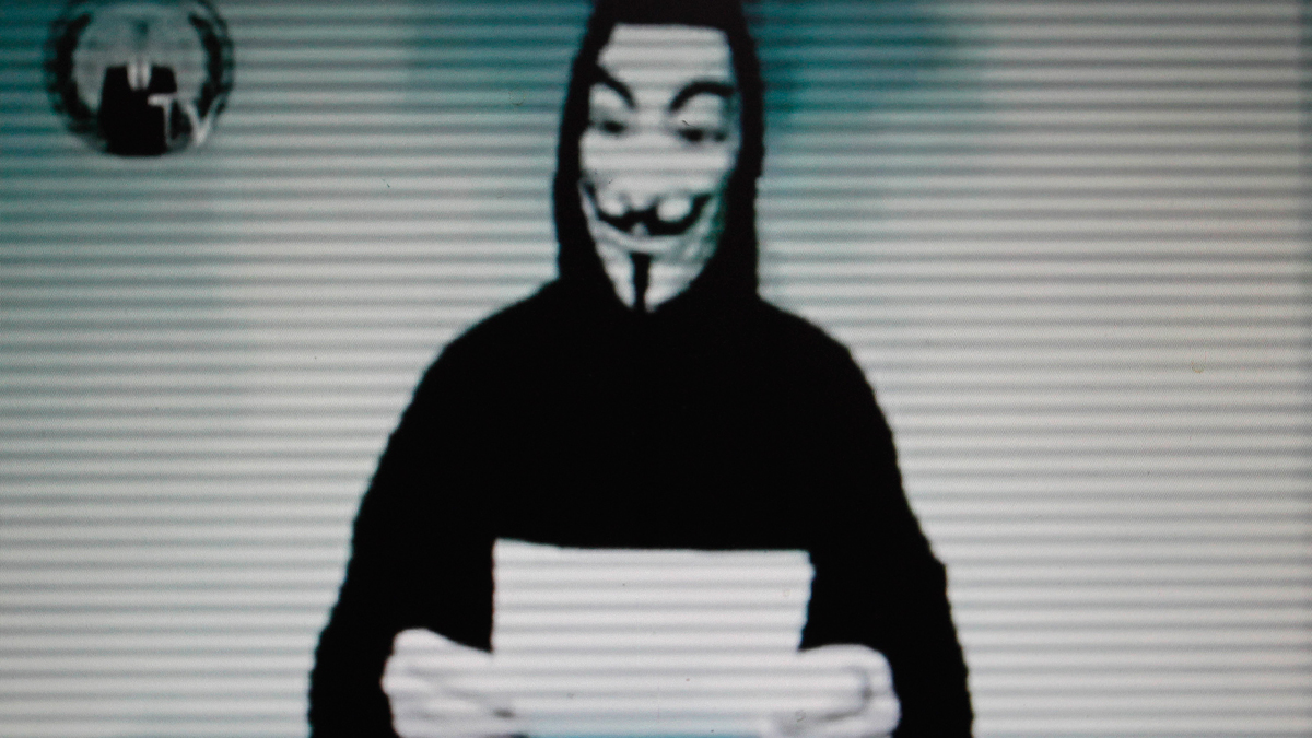 This image taken from a video posted by Internet hacker group