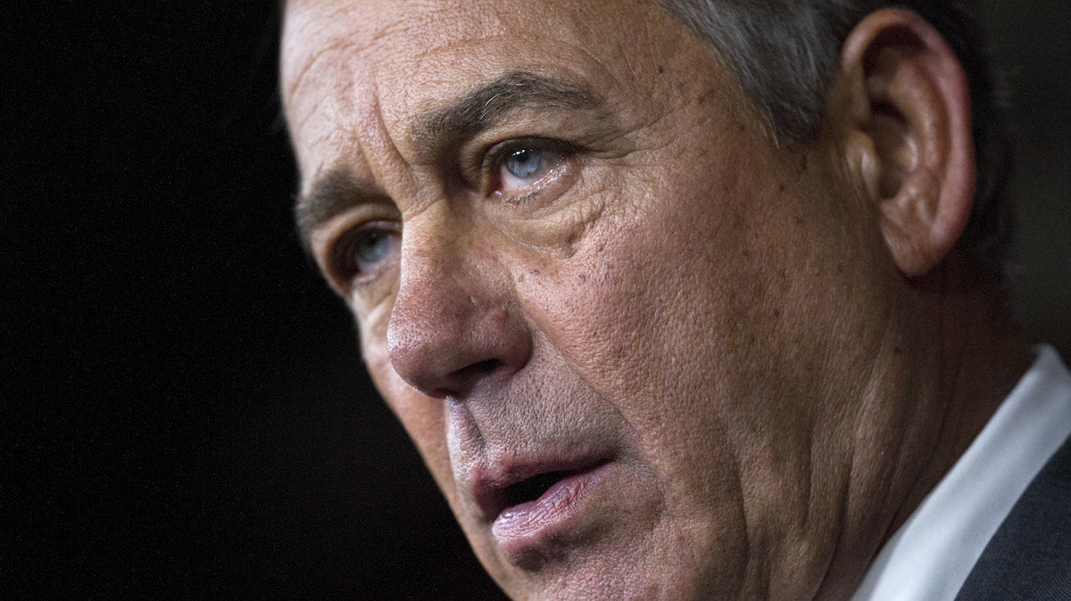 House Speaker John Boehner of Ohio speaks during a news conference on Capitol Hill in Washington, Friday, Sept. 25, 2015.
