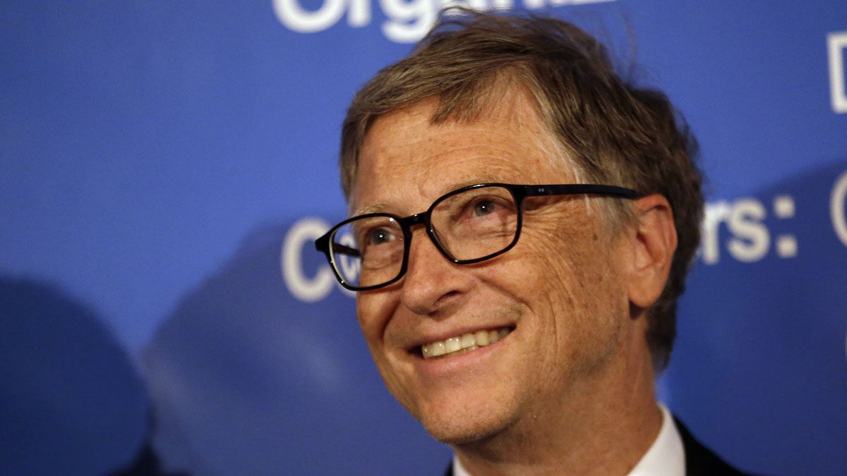 Bill Gates smiles at a U.S. Trade and Investment Cooperation Conference Tuesday, Sept. 22, 2015, in Seattle.