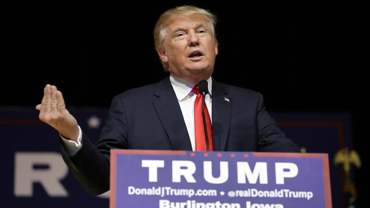 Republican presidential candidate Donald Trump speaks during a campaign stop at the Burlington Memorial Auditorium, Wednesday, Oct. 21, 2015, in Burlington, Iowa.