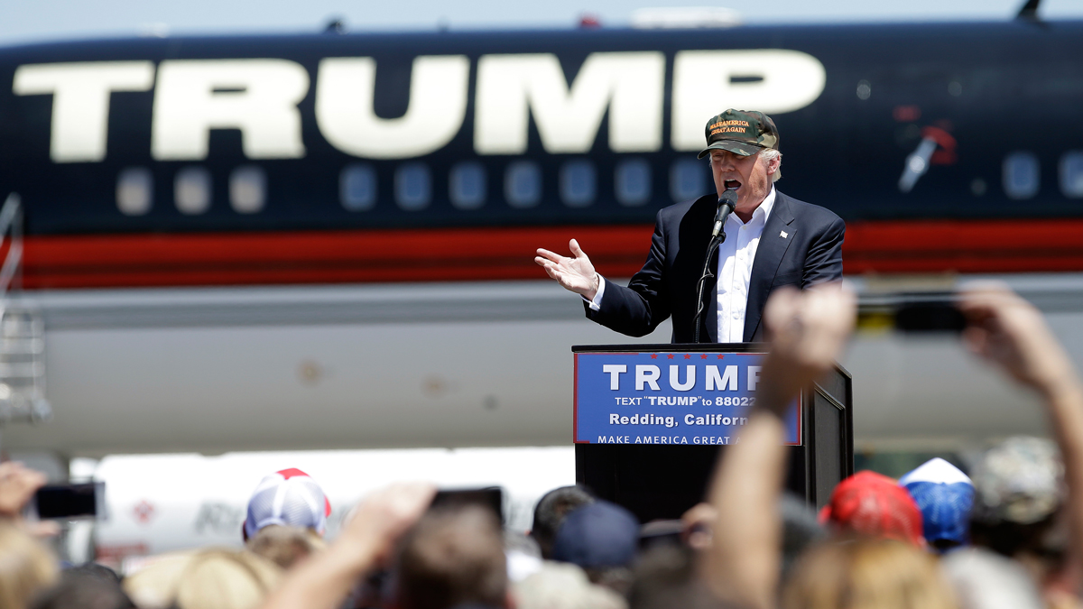 Republican presidential candidate Donald Trump speaks at a campaign rally at the Redding Municipal Airport Friday, June 3, 2016, in Redding, California. Trump began appealing to anger over immigration the moment he declared his candidacy, singling out Mexicans in particular in comments many are calling racist.