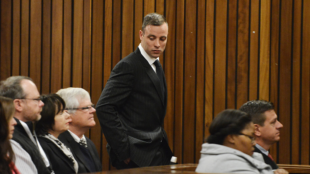 Oscar Pistorius, centre, appears in the High Court for re-sentencing proceedings, in Pretoria, South Africa, on June 13, 2016. Pistorius suffered injuries in prison on Saturday.