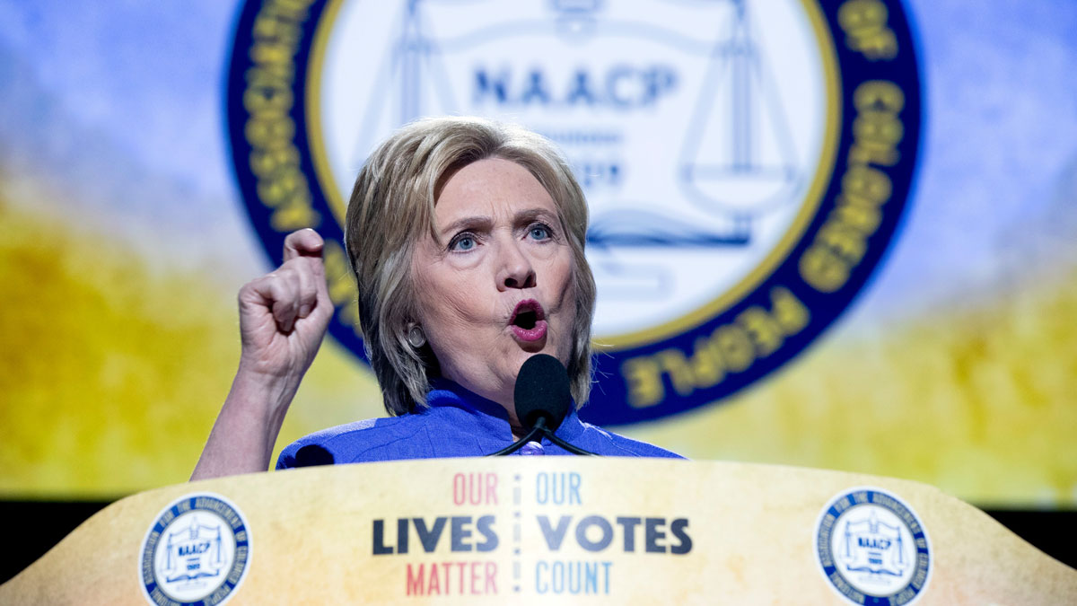 Democratic presidential candidate Hillary Clinton speaks at the 107th National Association for the Advancement of Colored People annual convention at the Duke Energy Convention Center in Cincinatti, Monday, July 18, 2016.