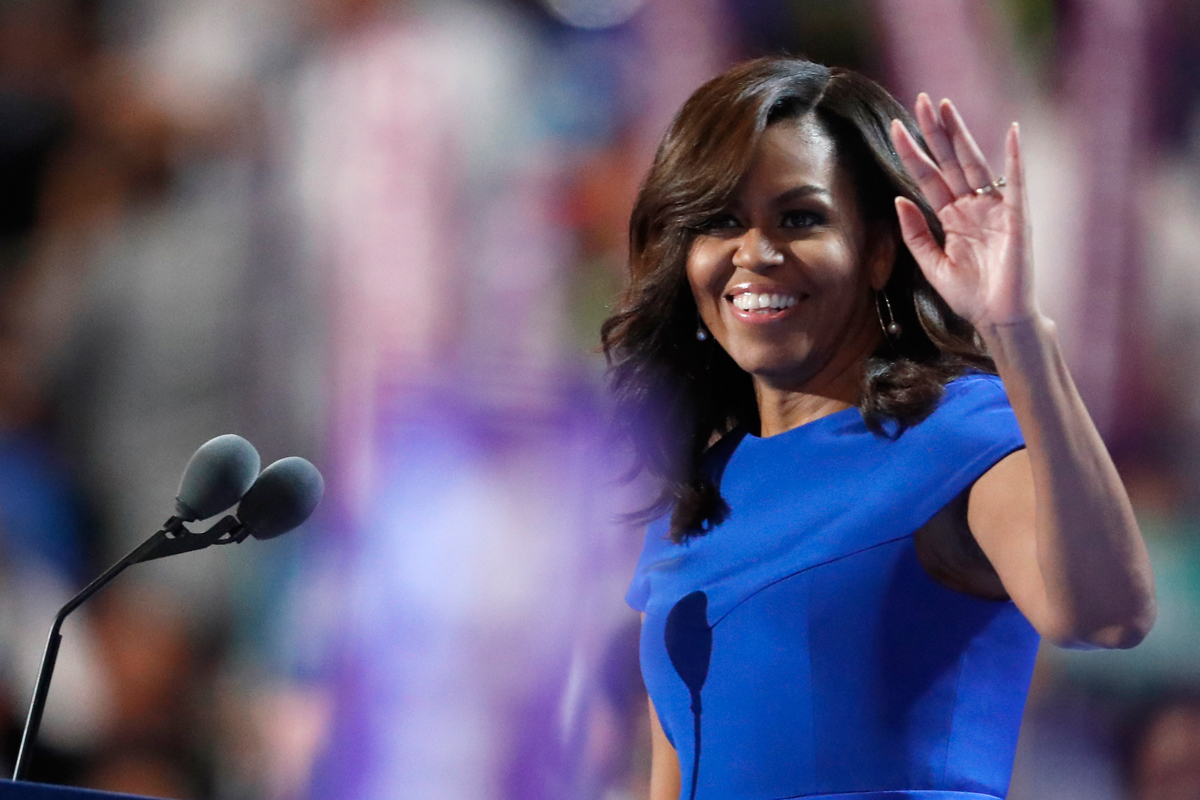 First Lady Michelle Obama takes the stage during the first day of the Democratic National Convention in Philadelphia, July 25, 2016.
