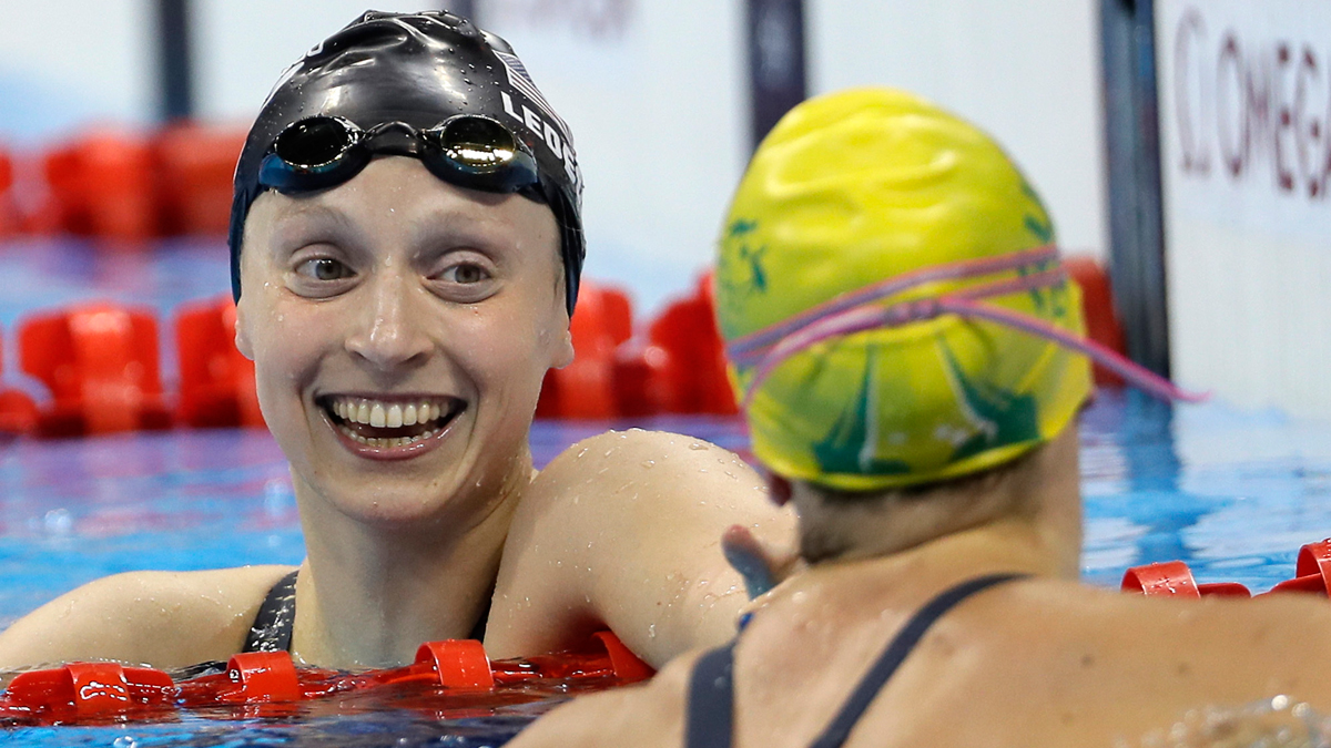 United States' Katie Ledecky, left, and Australia's Tamsin Cook after the women's 4 x 200-meter freestyle relay final during the swimming competitions at the 2016 Summer Olympics, Aug. 11, 2016, in Rio de Janeiro, Brazil.