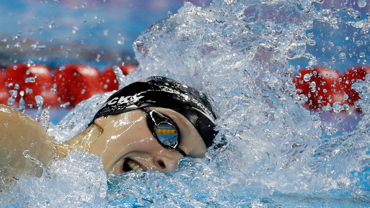 Unites States' Katie Ledecky competes in the women's 800-meter freestyle final during the swimming competitions at the 2016 Summer Olympics, Friday, Aug. 12, 2016, in Rio de Janeiro, Brazil.