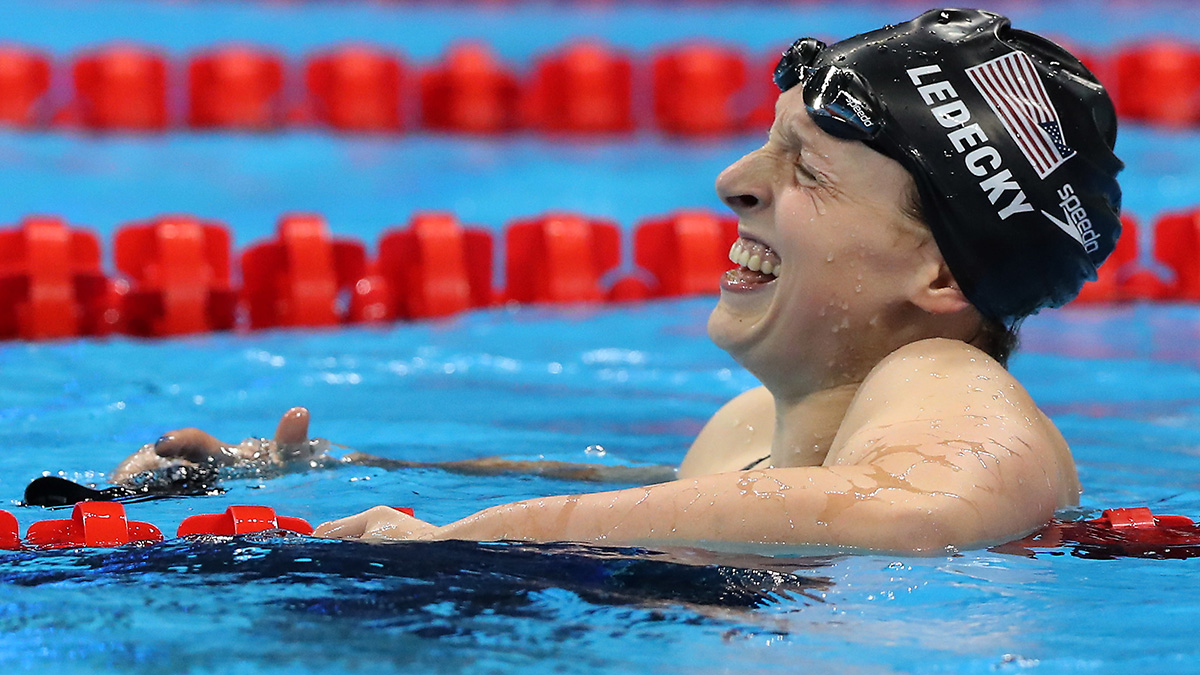 United States' Katie Ledecky celebrates after setting a new world record and winning the gold after the women's 800-meter freestyle final during the swimming competitions at the 2016 Summer Olympics, Friday, Aug. 12, 2016, in Rio de Janeiro, Brazil.