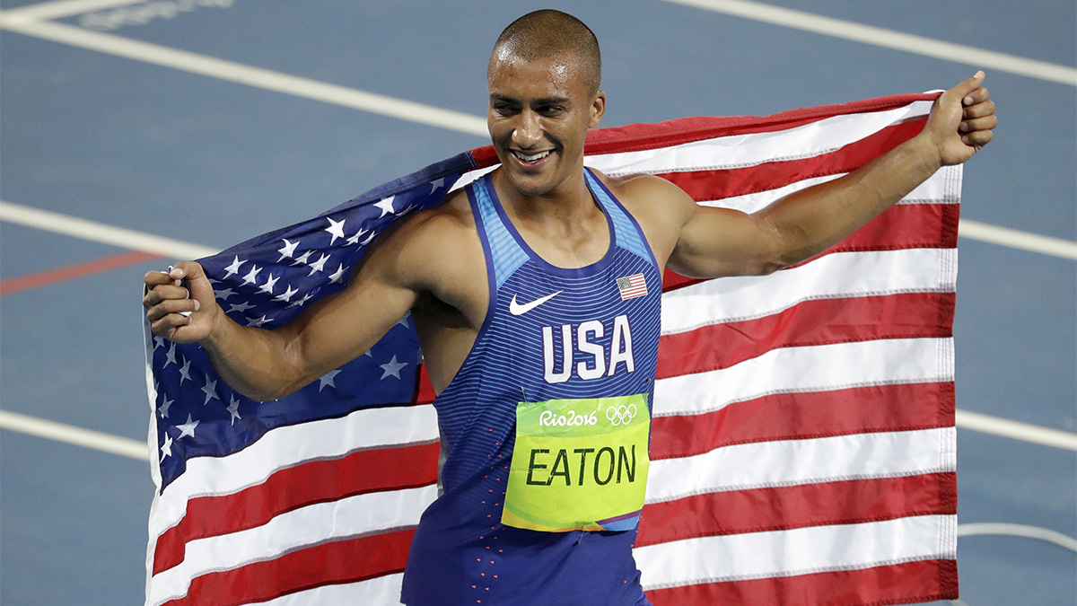 United States' Ashton Eaton celebrates winning the gold medal in the men's decathlon during the athletics competitions of the 2016 Summer Olympics at the Olympic stadium in Rio de Janeiro, Brazil, Aug. 18, 2016.