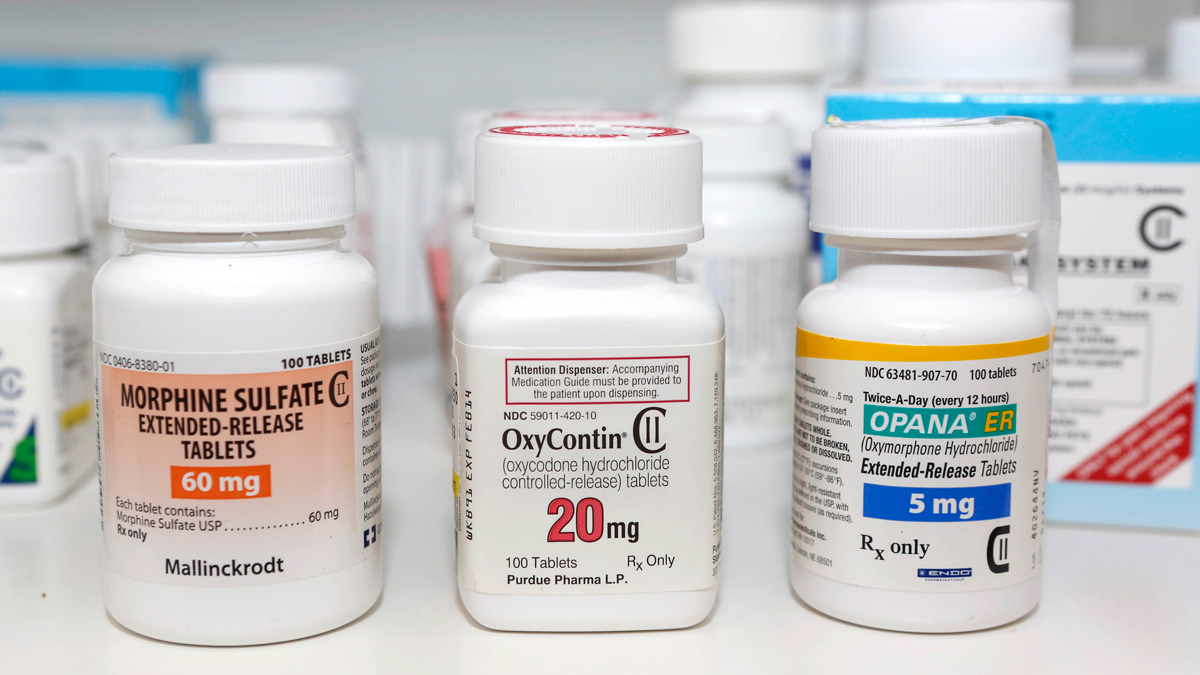 In this Jan. 18, 2013 file photo, Schedule 2 narcotics: Morphine Sulfate, OxyContin and Opana are displayed for a photograph in Carmichael, California.