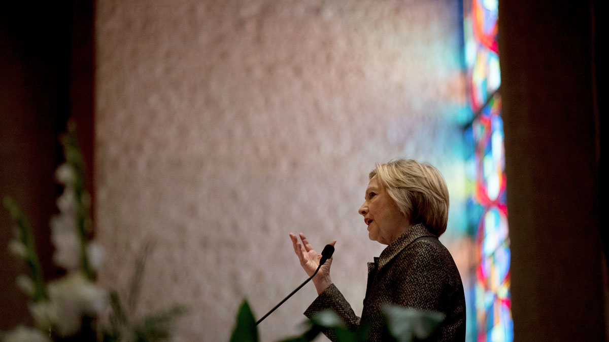 Democratic presidential candidate Hillary Clinton speaks at the Little Rock AME Zion Church in Charlotte, N.C., on Oct. 2, 2016.