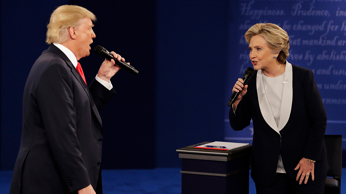 Donald Trump and Hillary Clinton during the second presidential debate on Sunday, Oct. 9, 2016, in St. Louis. For many parents, this election cycle has become a PG-13 minefield.