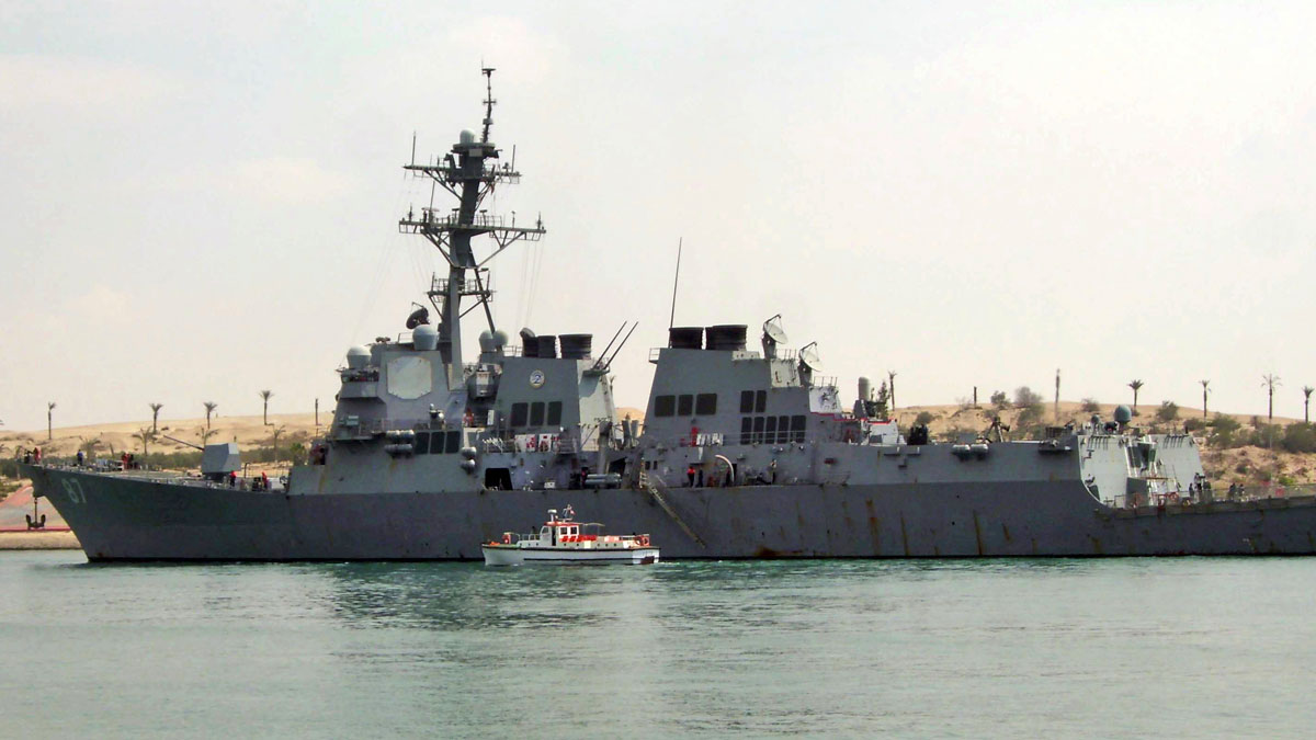 In this Saturday, March 12, 2011 file photo, U.S. destroyer USS Mason sails in the Suez canal in Ismailia, Egypt. Two missiles fired from rebel-held territory in Yemen landed near an American destroyer passing by in the Red Sea, the U.S. Navy said on Monday, Oct. 10, 2016.
