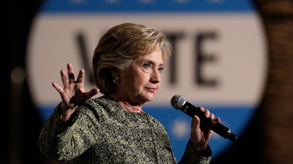 Democratic presidential candidate Hillary Clinton speaks at a rally, Wednesday, Oct. 12, 2016, in Las Vegas.
