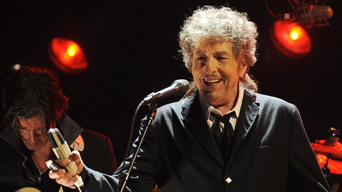 In this Jan. 12, 2012, file photo, Bob Dylan performs in Los Angeles. Dylan was named the winner of the 2016 Nobel Prize in literature on Oct. 13, 2016, but the academy is unable to find him and present his prize.