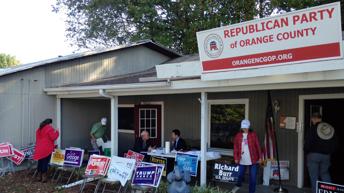 Workers at the Orange County GOP office set up a makeshift operation with folding tables on Monday, Oct. 17, 2016 in Hillsborough, N.C.