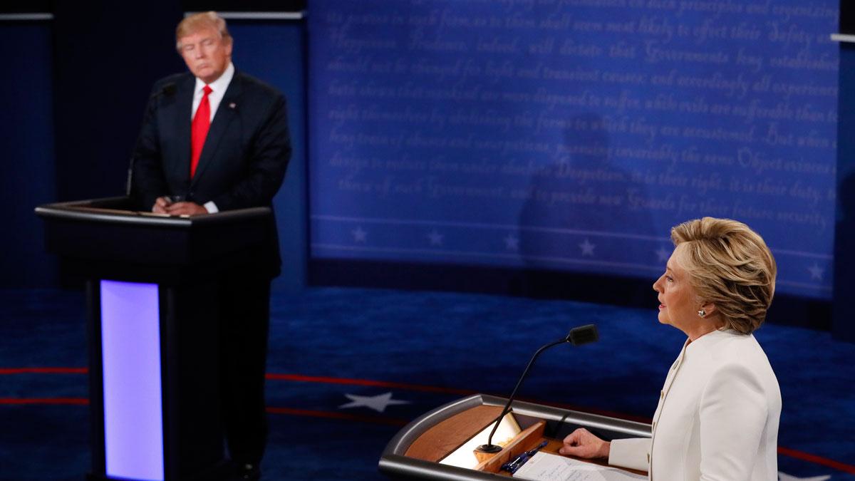 Democratic presidential nominee Hillary Clinton debates with Republican presidential nominee Donald Trump during the third presidential debate at UNLV in Las Vegas, Wednesday, Oct. 19, 2016.