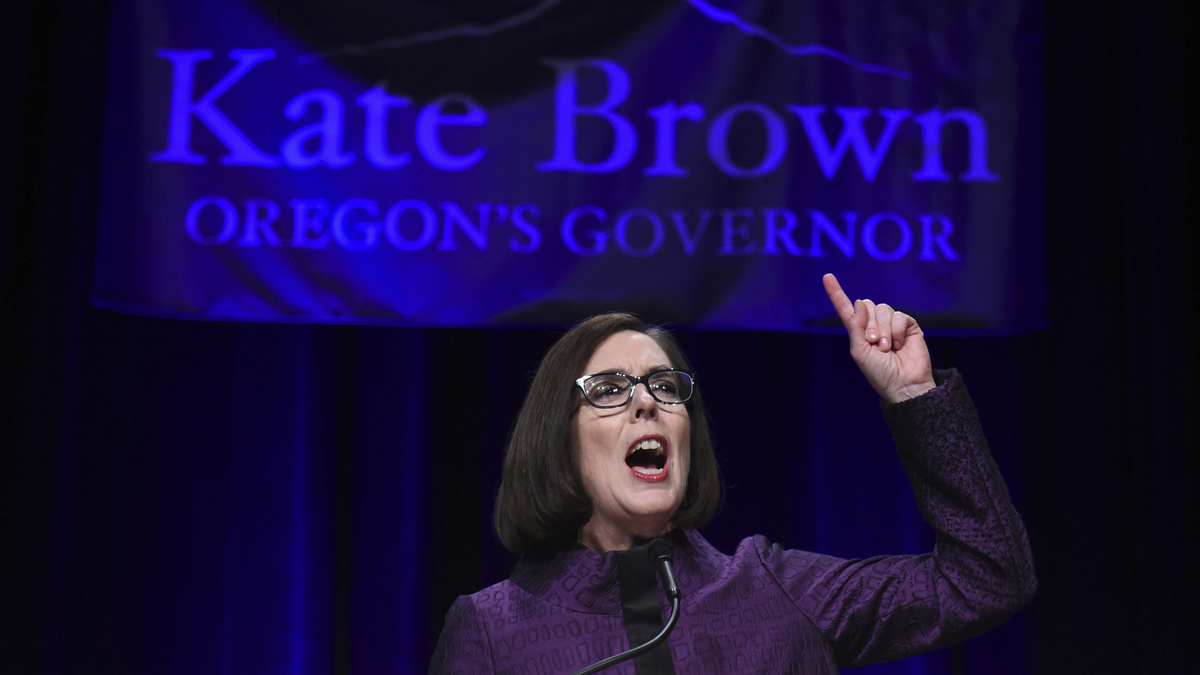 Oregon Gov, Kate Brown speaks to the crowd of supporters after being elected at the Oregon Convention Center in Portland, Ore., on Tuesday, Nov. 8, 2016. (AP Photo/Steve Dykes)