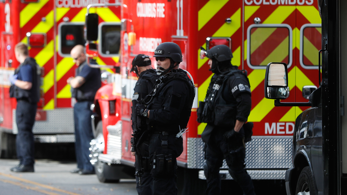 SWAT teams and police respond to reports of an incident on campus at Ohio State University, Nov. 28, 2016, in Columbus, Ohio.