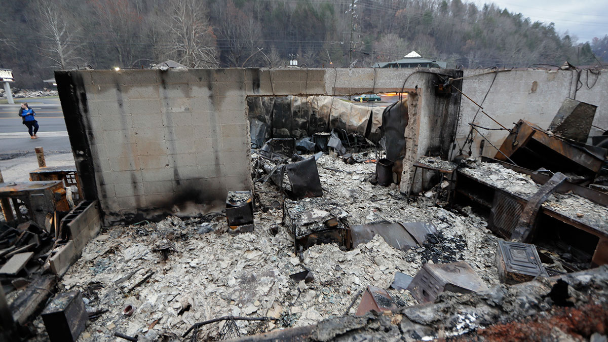 In this Nov. 30, 2016, photo, some walls of a burned-out business remain in Gatlinburg, Tenn., after a wildfire swept through the area Monday. The wildfires torched hundreds of homes and businesses in the Great Smoky Mountains area, officials said Wednesday.