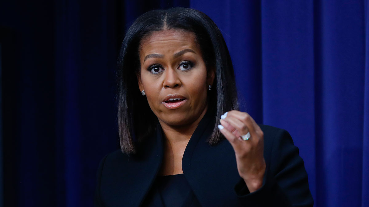 File photo: First lady Michelle Obama speaks after the screening for the movie 'Hidden Figures,' Thursday, Dec. 15, 2016, in the South Court Auditorium in the Eisenhower Executive Office Building on the White House complex in Washington.