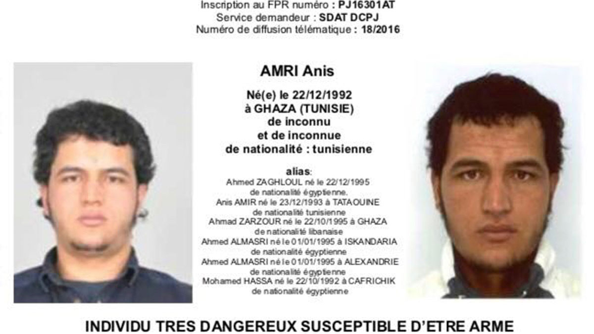 The photo which was sent to European police authorities and obtained by AP on Wednesday, Dec. 21, 2016 shows Tunisian national Anis Amri who is wanted by German police for an alleged involvement in the Berlin Christmas market attack. Several people died when a truck ran into a crowded Christmas market on Dec. 19.