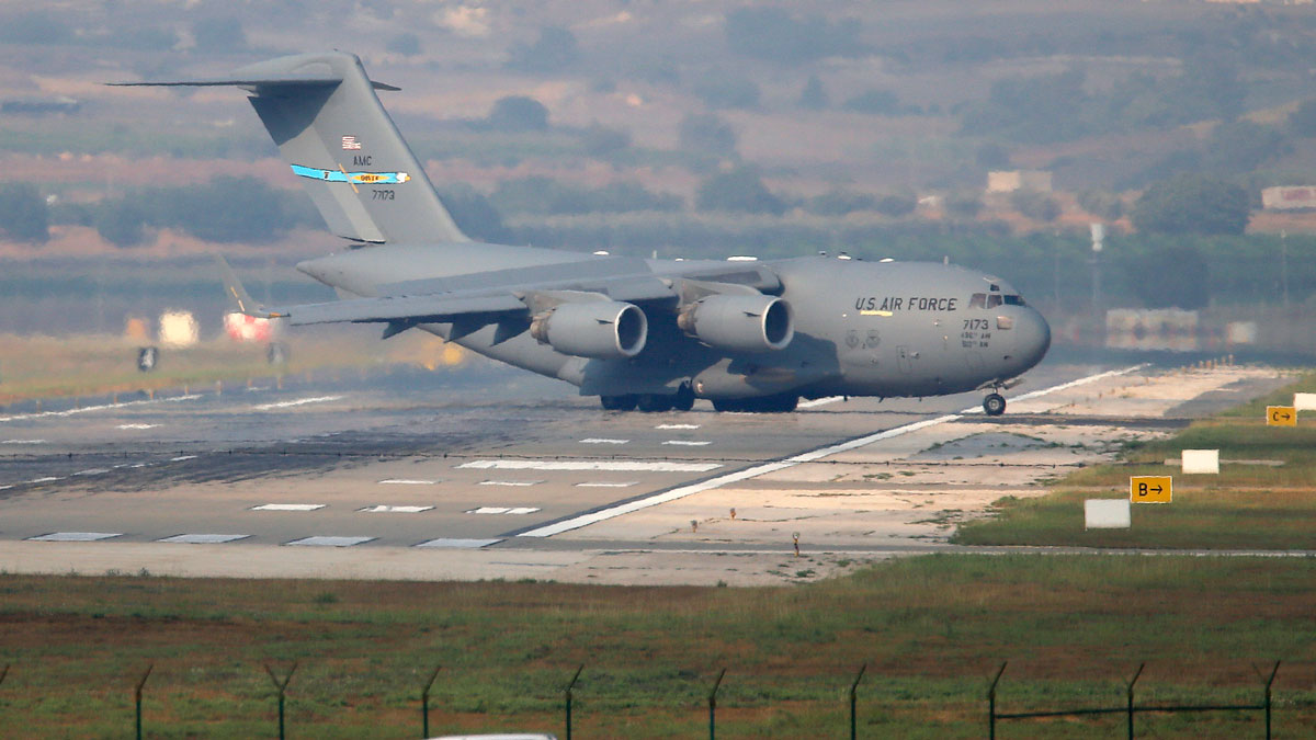 United States Air Force cargo plane maneuvers on the runway after it landed at the Incirlik Air Base, on the outskirts of the city of Adana, southern Turkey, Friday, July 31, 2015.