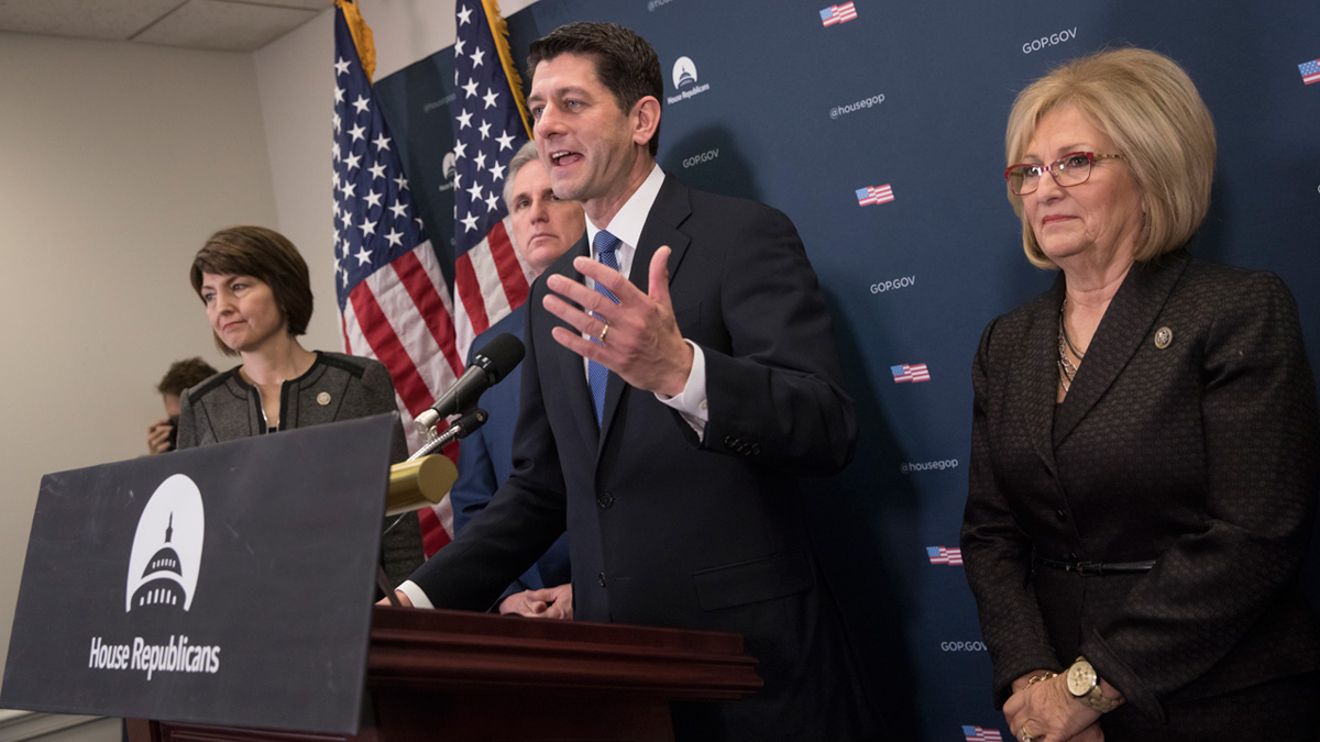 House Speaker Paul Ryan of Wisconsin, joined by, from left, Rep. Cathy McMorris Rodgers, R-Wash., House Majority Leader Kevin McCarthy of Calif., and interim House Budget Committee Chairman Rep. Diane Black, R-Tenn., meet with reporters on Capitol Hill in Washington, Tuesday, Jan. 10, 2017, to discuss their efforts to replace the Affordable Care Act, following a closed-door meeting with the GOP caucus.