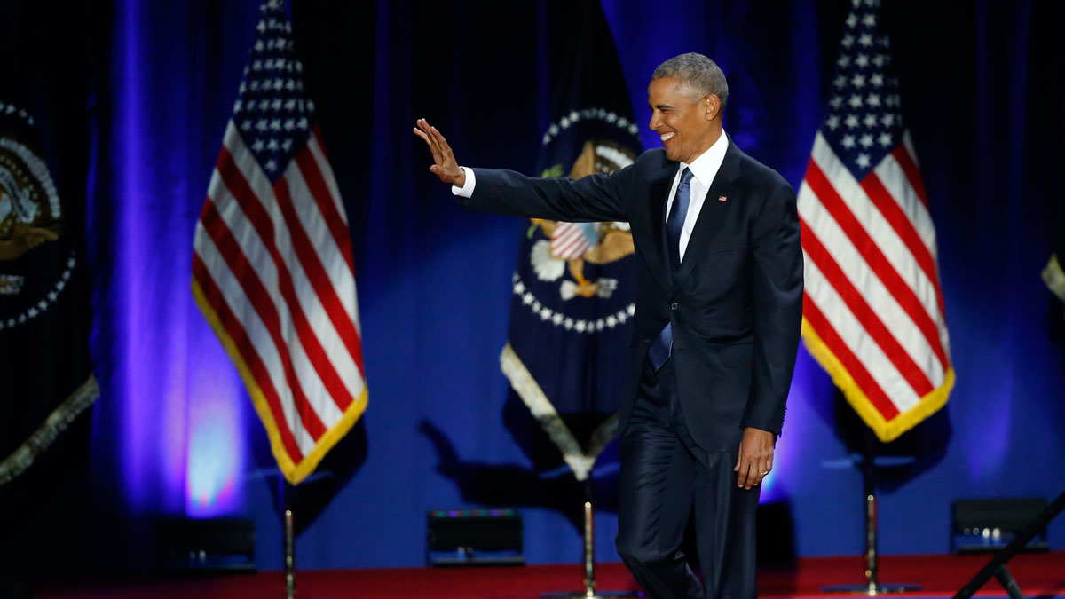 President Barack Obama waves as he arrives to speaks at McCormick Place in Chicago, Tuesday, Jan. 10, 2017, giving his presidential farewell address.