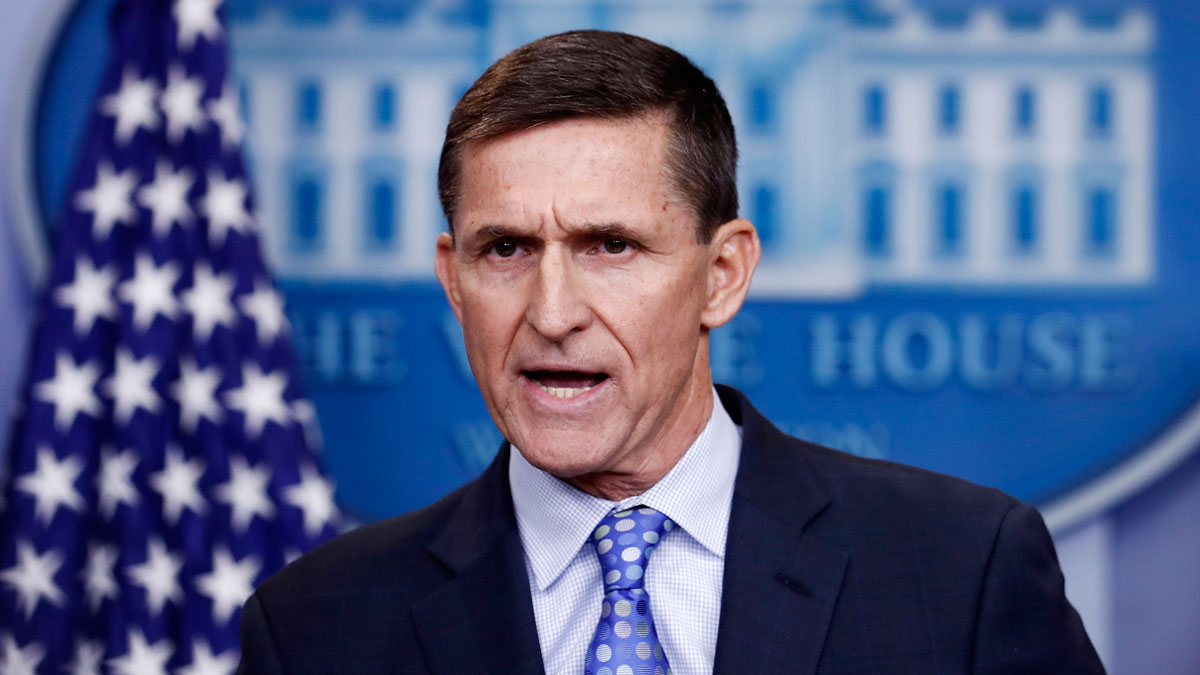 National Security Adviser Michael Flynn speaks during the daily news briefing at the White House, in Washington, Wednesday, Feb. 1, 2017. Flynn said the administration is putting Iran
