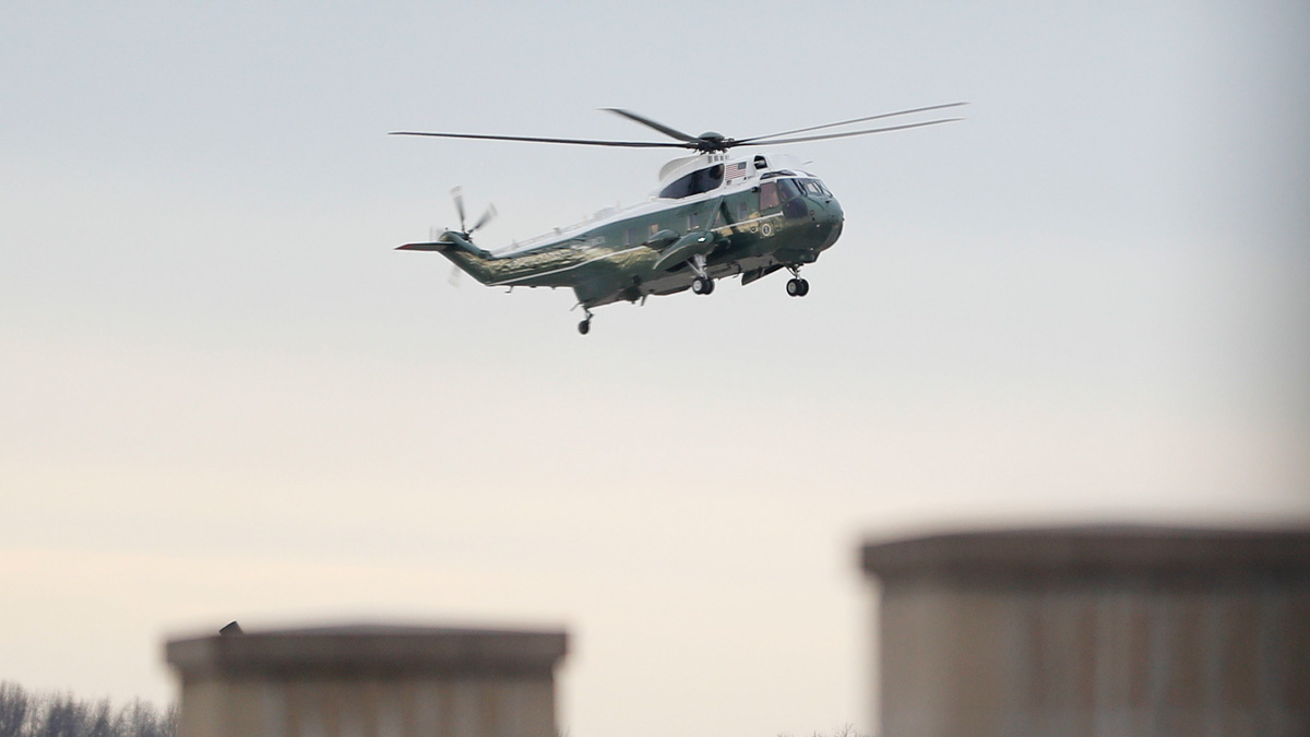 Marine One, with President Donald Trump aboard, lands at Dover Air Force Base, Del. Wednesday, Feb. 1, 2017. Trump traveled to Dover AFB to meet with family members Chief of Special Warfare Operator William