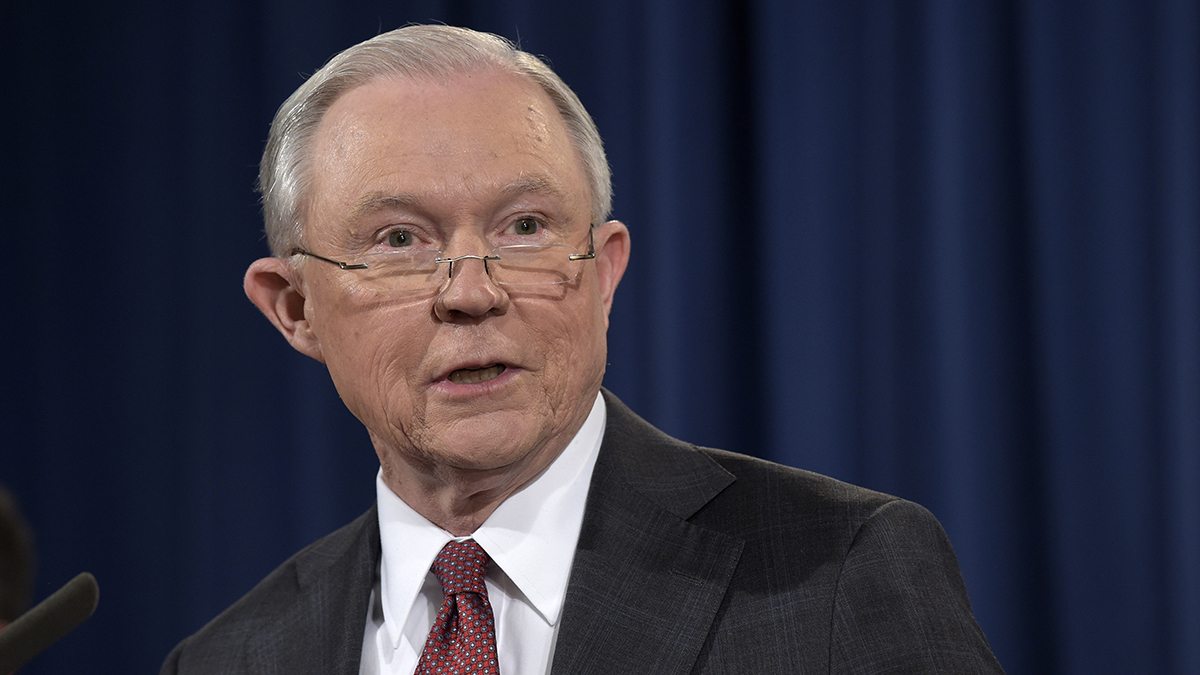 Attorney General Jeff Sessions speaks at the Justice Department in Washington, Thursday, March 2, 2017.