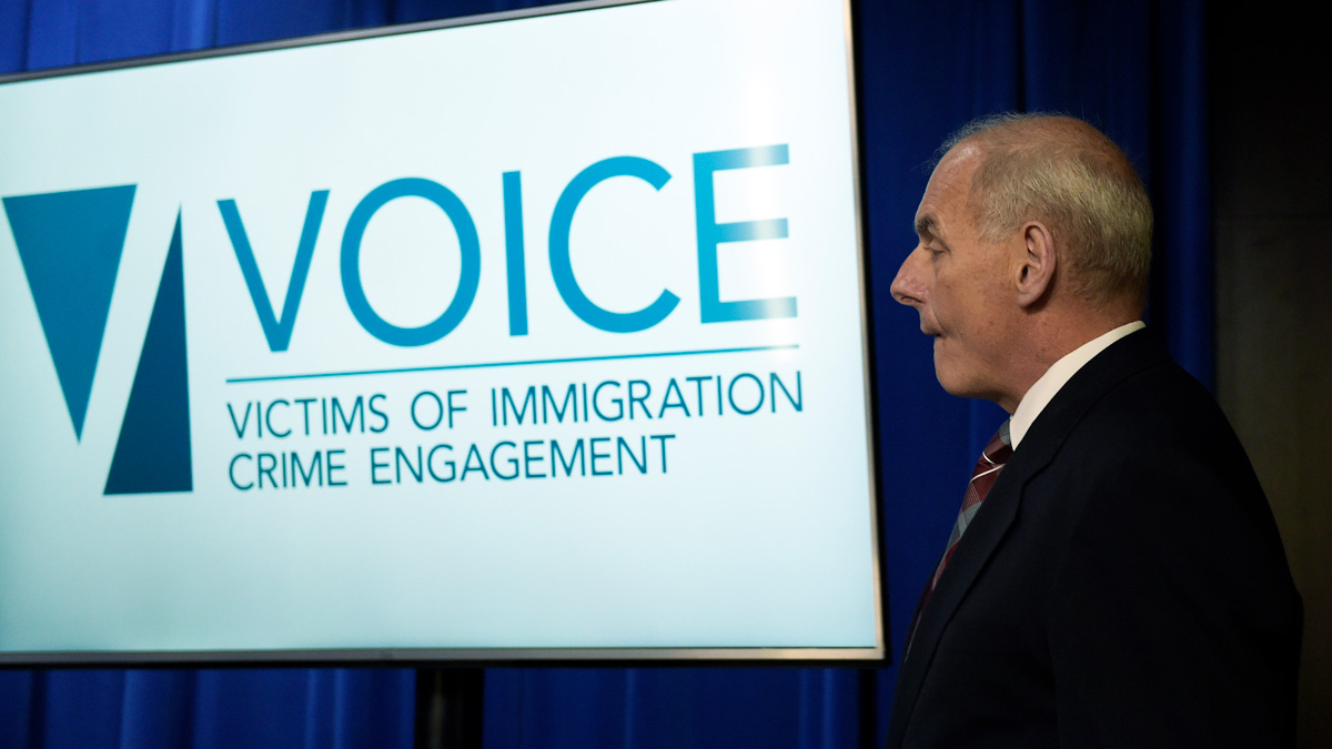 Homeland Security Secretary John Kelly arrives to for a news conference at Immigration and Customs Enforcement (ICE) in Washington, Wednesday, April 26, 2017, to announce the opening of new Victims of Immigration Crime Engagement (VOICE).