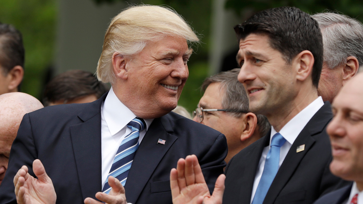 President Donald Trump talks with House Speaker Paul Ryan of Wis. in the Rose Garden of the White House in Washington, Thursday, May 4, 2017, after the House pushed through a health care bill.