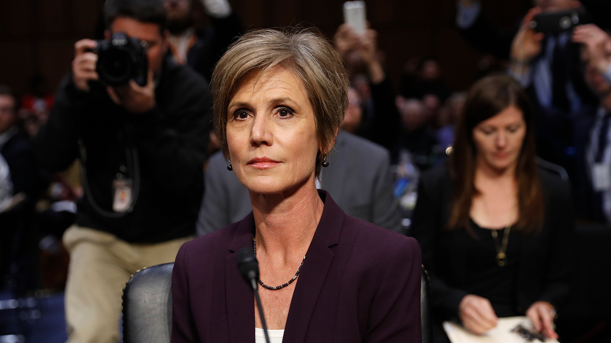 Former acting Attorney General Sally Yates takes her seat on Capitol Hill in Washington on Monday, May 8, 2017, prior to testifying before the Senate Judiciary subcommittee on Crime and Terrorism hearing: