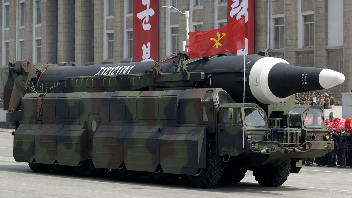 In this April 15, 2017, file photo, an unidentified missile that analysts believe could be the North Korean Hwasong-12 is paraded across Kim Il Sung Square in Pyongyang.