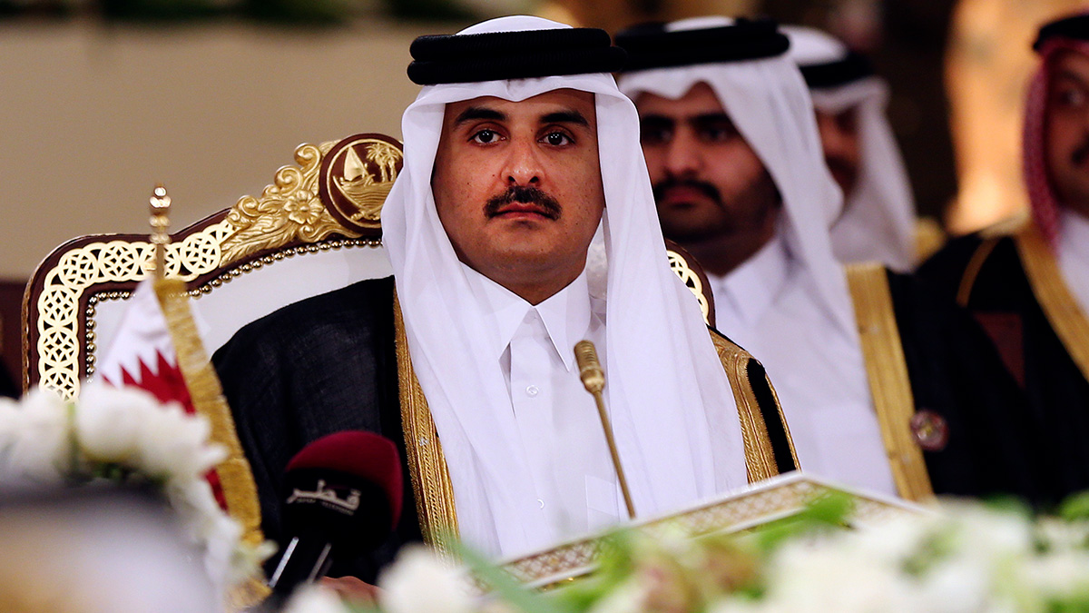 In this Tuesday, Dec. 9, 2014 file photo, Qatar's Emir Sheikh Tamim bin Hamad Al-Thani attends a Gulf Cooperation Council summit in Doha, Qatar. Four Arab states have cut diplomatic ties to Qatar amid a deepening rift.